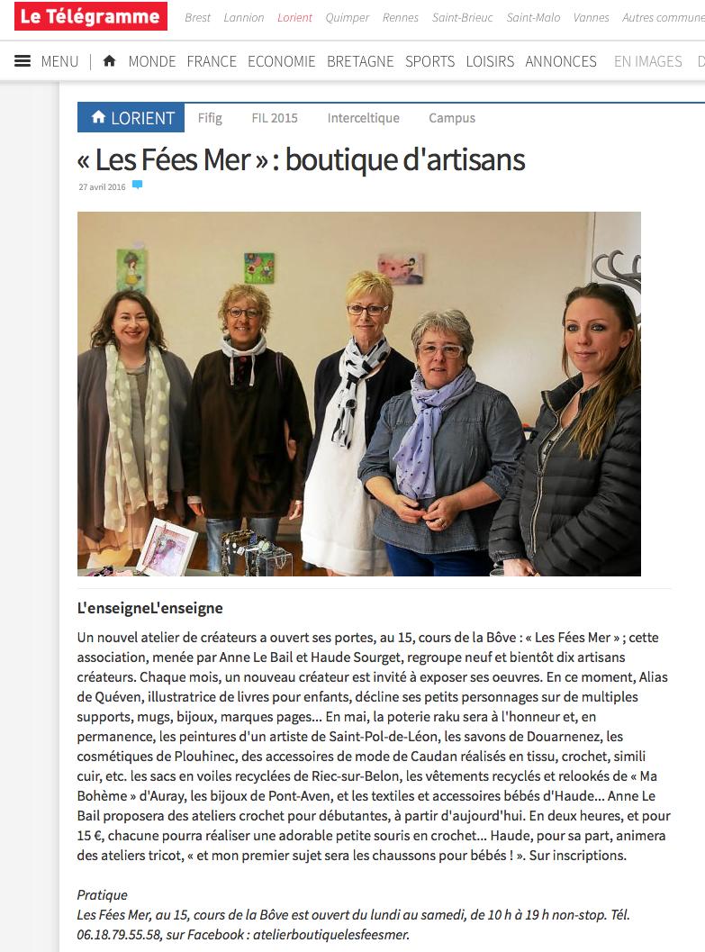 """Ouverture de la boutique de Créateurs Locaux """"Les Fées Mer"""" à Lorient (56100)"""