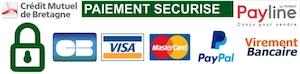 Paiement sécurisé via Payline, Crédit Mutuel de Bretagne Possibilité de régler par chèque, Paypal, et virement bancaire